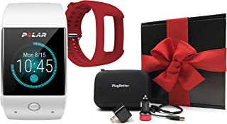 Polar M600 (White) Gift Box Bundle | Includes Extra Silicone Band (Red), PlayBetter USB Car & Wall Charging Adapters, Hard...
