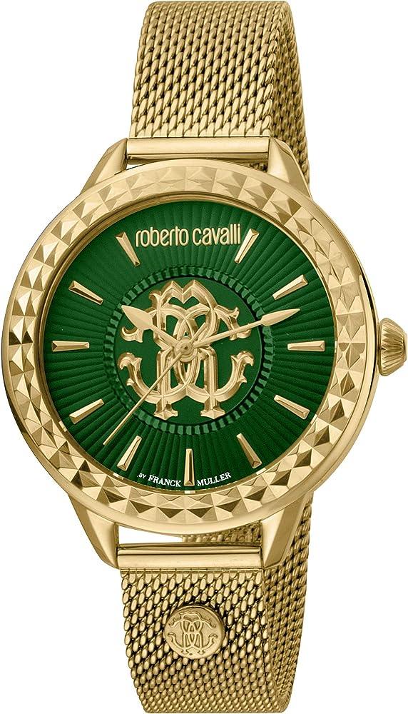 Roberto cavalli, orologio elegante per donna,in acciaio inossidabile,placcato oro RV1L125M0061