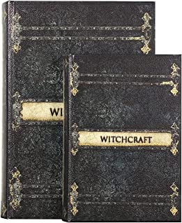 ARTSSS Decorative Book Boxes Pattern Antique Book Invisible Box Sturdy and Realistic Faux Wood Set of 2 Storage Set (Witch...