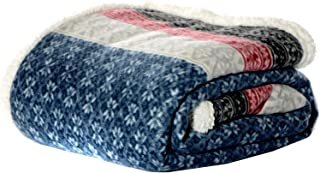 Eddie Bauer FairIsle Sherpa Reversible Throw, 50 by 70-Inch, Midnight