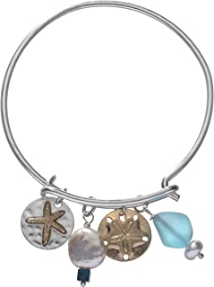 Handmade Sand Dollar Starfish Bracelet with Swarovski Crystal, Mother of Pearl, and Tumbled Sea Glass Bead