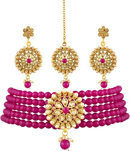 Designer Premium Ruby Hydrabadi Indian Faux Pearl Choker Long Necklace Jewellery Set for Women