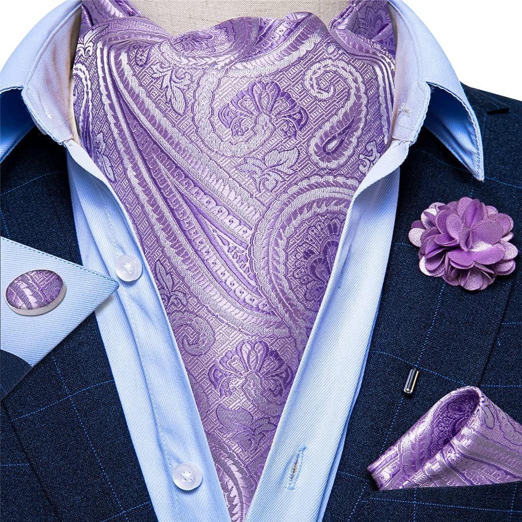 ZLBYB Men's Vintage Purple Jacquard Woven Silk Tie Cravat Scrunch British Style Gentleman Necktie (Color : Pink, Size : One Size)