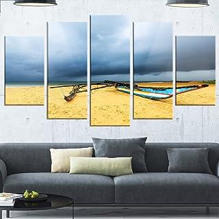 Designart MT14815-373 Beach with Dark Clouds Above Ocean - Large Seashore Glossy Metal Wall Art,Blue,60x32