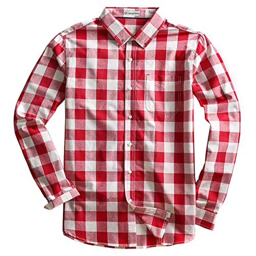 27b2b892e66 MOCOTONO Mens Long Sleeve Plaid Checked Button Down Cotton Casual Shirts