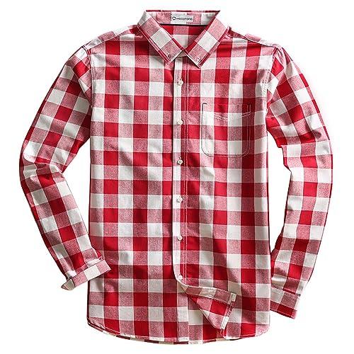 549b8407010 MOCOTONO Mens Long Sleeve Plaid Checked Button Down Cotton Casual Shirts
