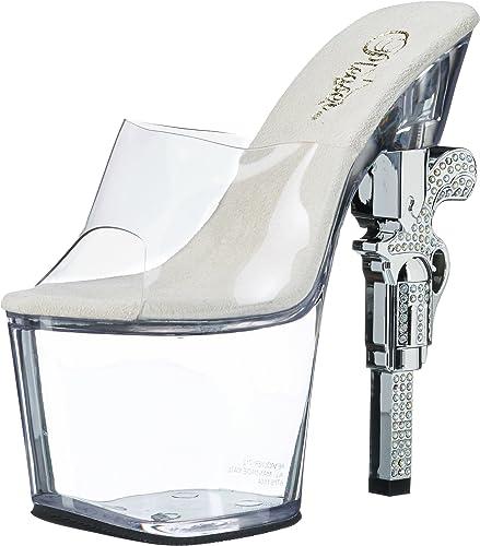 Pleaser Revolver-712, Sandales Bout Ouvert Femme
