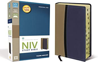 NIV Study Bible, Leathersoft, Tan/Blue, Red Letter Edition, Thumb Indexed