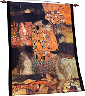 Raan Pah Muang Brand Wall Hanging Tapestry Print of Famous Works of Art, Gustav Klimt - The Kiss Collage