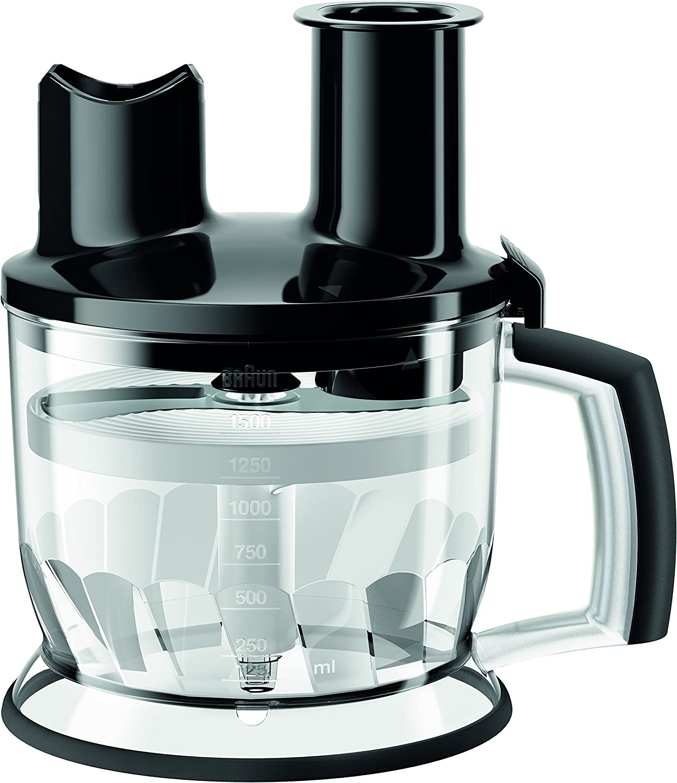 brown MQ70BK Multiquick Hand Blender 6-Cup Food Processor Attachment, Black