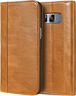 ProCase Galaxy S8 Genuine Leather Case, Vintage Wallet Folding Flip Case with Kickstand and Multiple Card Slots Magnetic Closure Protective Cover for Galaxy S8 -Brown