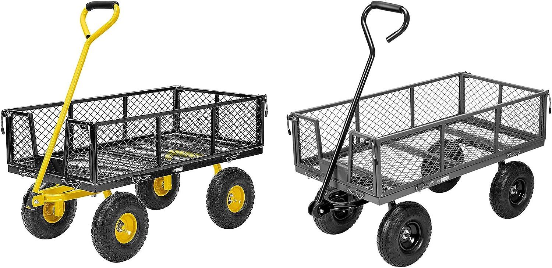 VIVOHOME Heavy Duty 1100 Lbs Super Special SALE held Capacity Garden Cart Steel Spasm price Mesh Fol