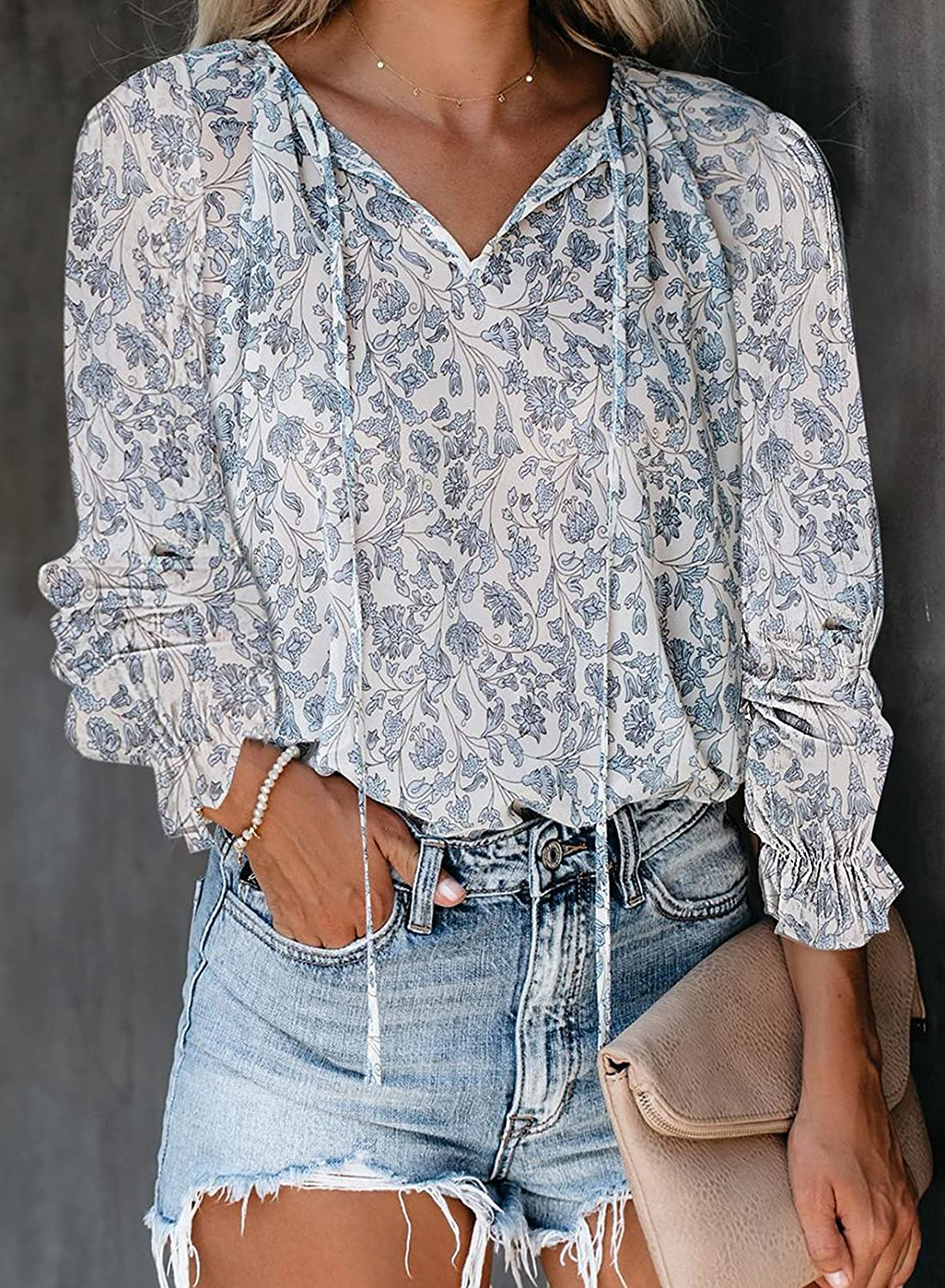 Astylish Womens Casual Floral V Neck Tops Short Sleeve Print T-Shirt Blouses