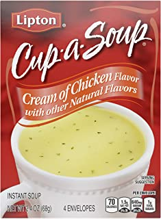 Lipton Cup-a-Soup Instant Soup For a Warm Cup of Soup Cream of Chicken Only 60 Calories..
