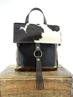 Convertible Backpack in Black & White Cowhide Leather