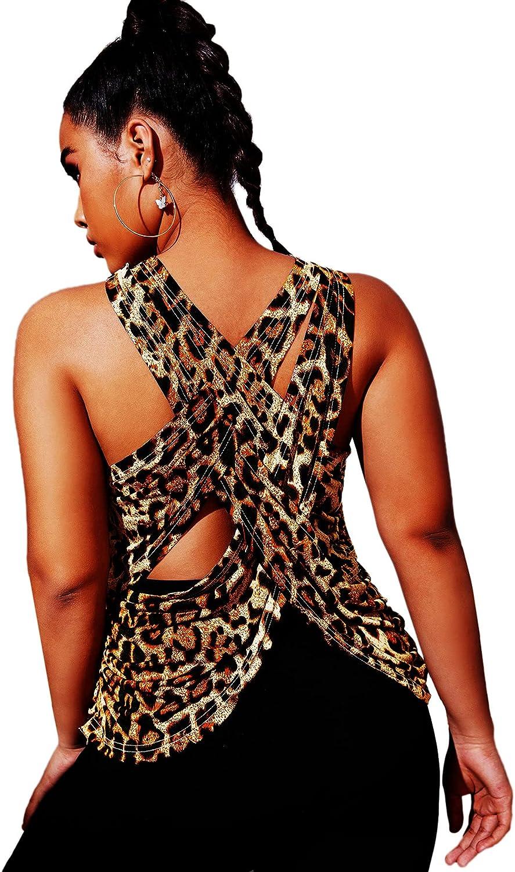 Romwe Women's Plus Size Leopard Print Sleeveless Criss Cross Tank Tops Yoga Shirts