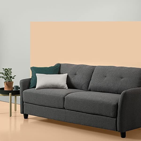 Zinus Ricardo Contemporary Upholstered 78 4 Inch Sofa Living Room Couch Dark Grey