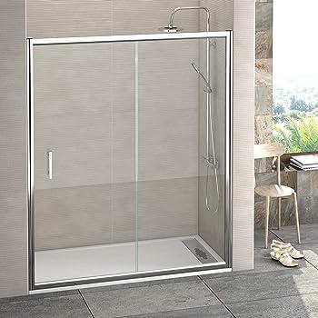Mampara de ducha frontal de 2 hojas fijas y 2 puertas correderas - Cristal 6 mm con ANTICAL INCLUIDO - Modelo GALAXIA (171-180 cm): Amazon.es: Bricolaje y herramientas