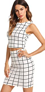 Women's Sleeveless Plaid Print Two Pieces Bodycon Skirt and Top Set