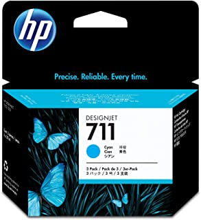 HP 711 Cyan 29-ml 3-Pack Genuine Ink Cartridges (CZ134A) for DesignJet T530, T525, T520, T130, T125, T120 & T100 Large For...