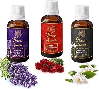 Precious Aromas Pure lavender Oil, Rose Oil & Jasmine Essential Oil, Pack of 3, 15 ML