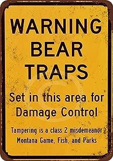 Custom Kraze Warning Bear Traps Montana Reproduction Metal Sign 8 x 12