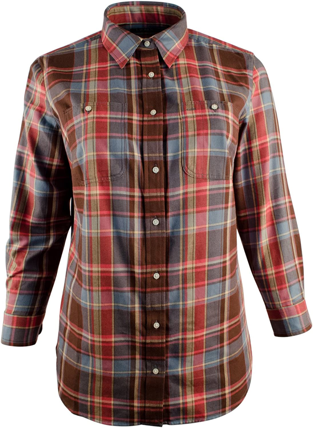 Lauren Ralph Lauren Womens Plus Plaid Long Sleeves ButtonDown Top