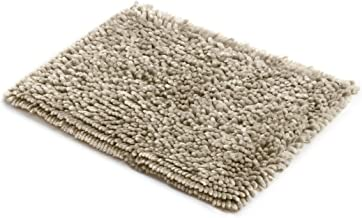 MICRODRY SoftGloss Shiny Absorbent Shag Chenille Memory Foam Bath Mat with GripTex Skid-Resistant Base (17x24, Linen)