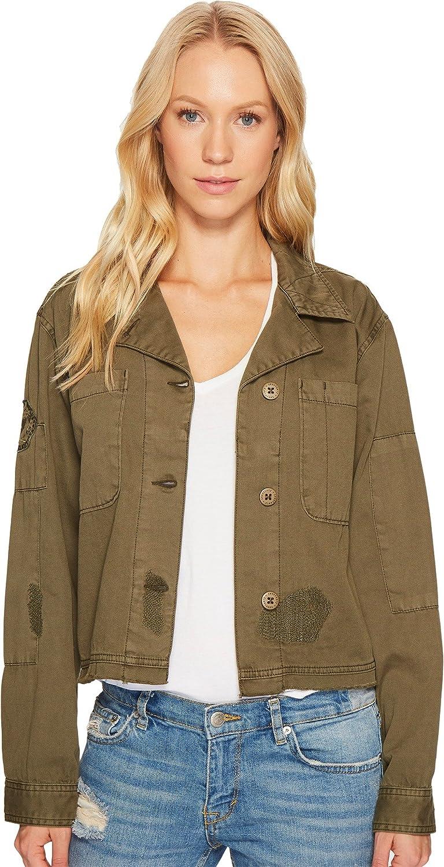Sanctuary Womens Lieutenant Twill Distressed Jacket Green XS