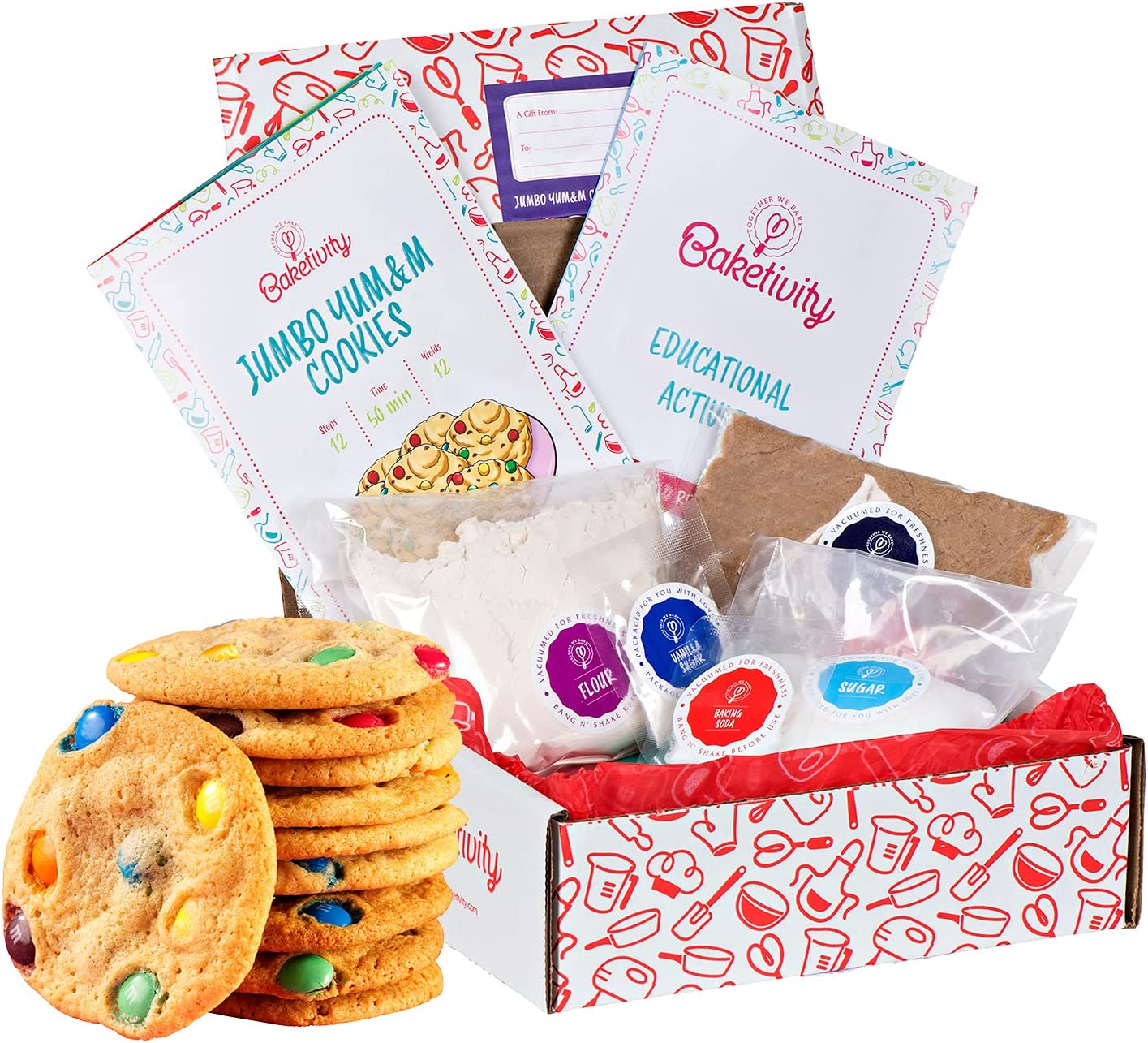Baketivity Kids Baking Set, Meal Cooking Party Supply Kit for Teens, Real Fun Little Junior Chef Essential Kitchen Lessons, Includes Pre-Measured Ingredients (Baketivity Kit, Jumbo Yum&m)