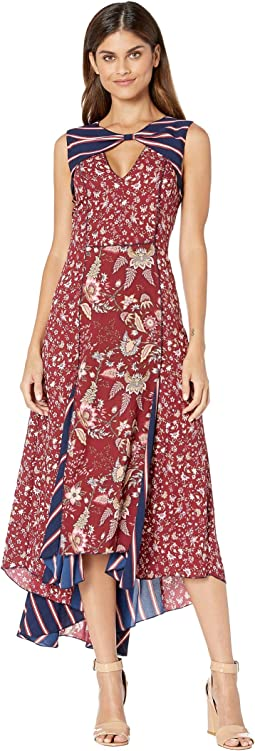 Deep Red/Floral Toile