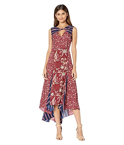 BCBGMAXAZRIA Mixed Print Midi Dress (Deep Red/Floral Toile) Women