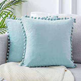 Top Finel Decorative Euro Throw Pillow Covers for Couch Bed Soft Particles Velvet Solid Cushion Covers with Pom-poms 26 x 26 Inch 65 x 65 cm, Pack of 2, Light Blue