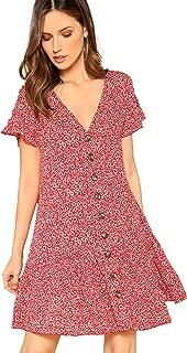 Women's Loose Floral Print Button Up Ruffle Hem Short Sleeve Tunic Dress