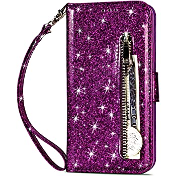 Vodico Samsung Galaxy A10e Case Wallet for Girls/Women, Girly Protective Luxury Glitter Bling Leather Full Body Phone Purse with Card Holder,Zipper Pocket&Strap Magnetic Shockproof Cover (Purple)