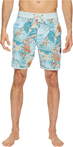 Surfari Washed Four-Way Stretch Boardshorts 18.5""