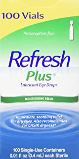 Refresh Plus Lubricant Eye Drops Long Lasting Relief Plus Protection for Mild To Moderate Dry Eye - 100 Single Use Vials