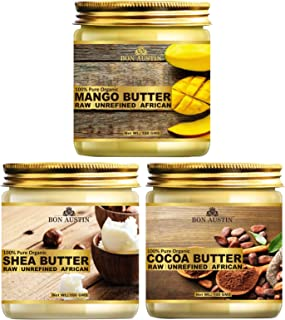 Bon Austin 100% Pure and Natural Shea Butter, Cocoa Butter & Mango Butter - RAW, UNREFINED & AFRICAN- For Moisturization o...
