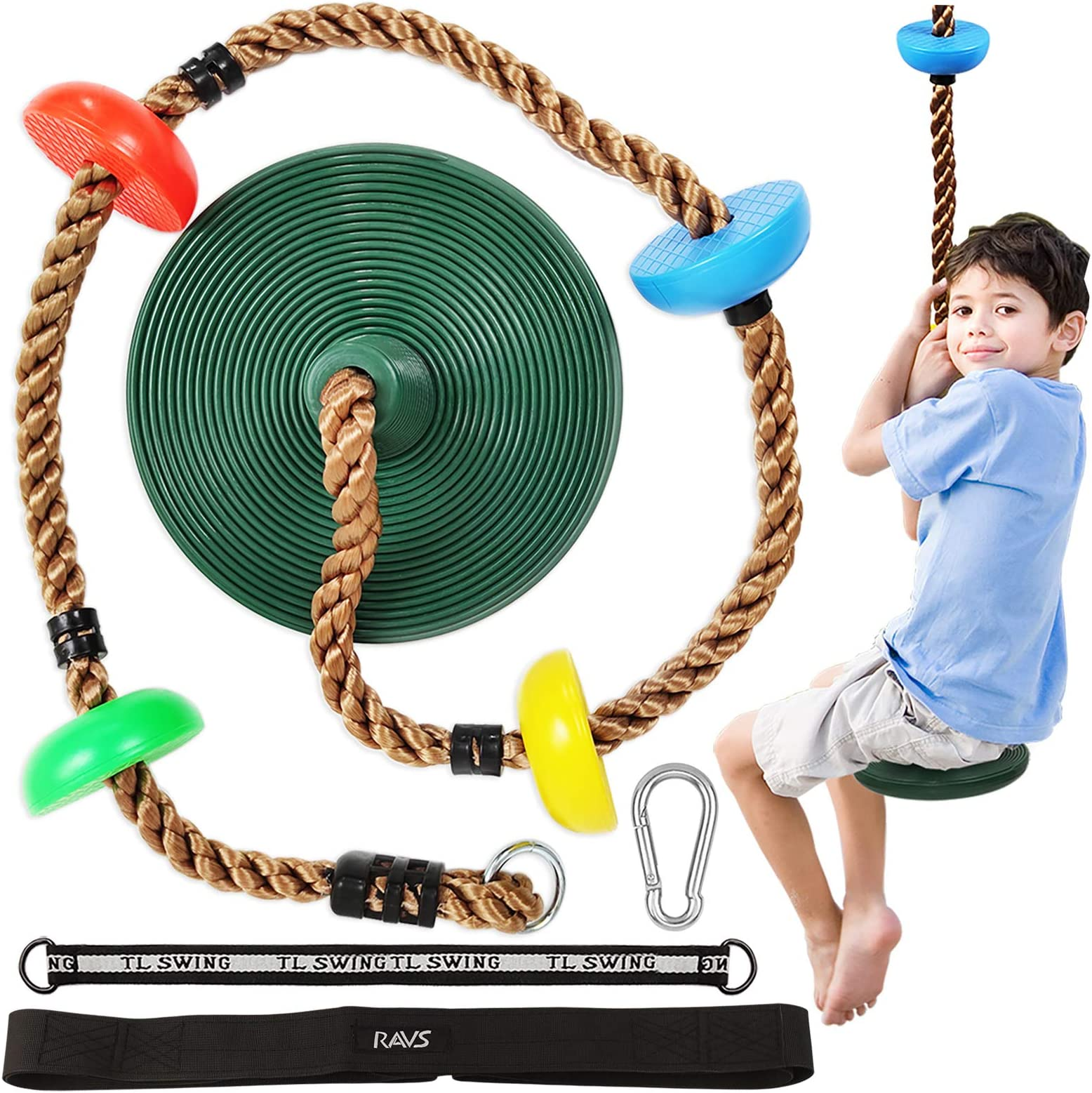 Tree Rope Swing Disc Seat for Kids Climbing Rope Jungle Gym Holds Up to 220Lbs