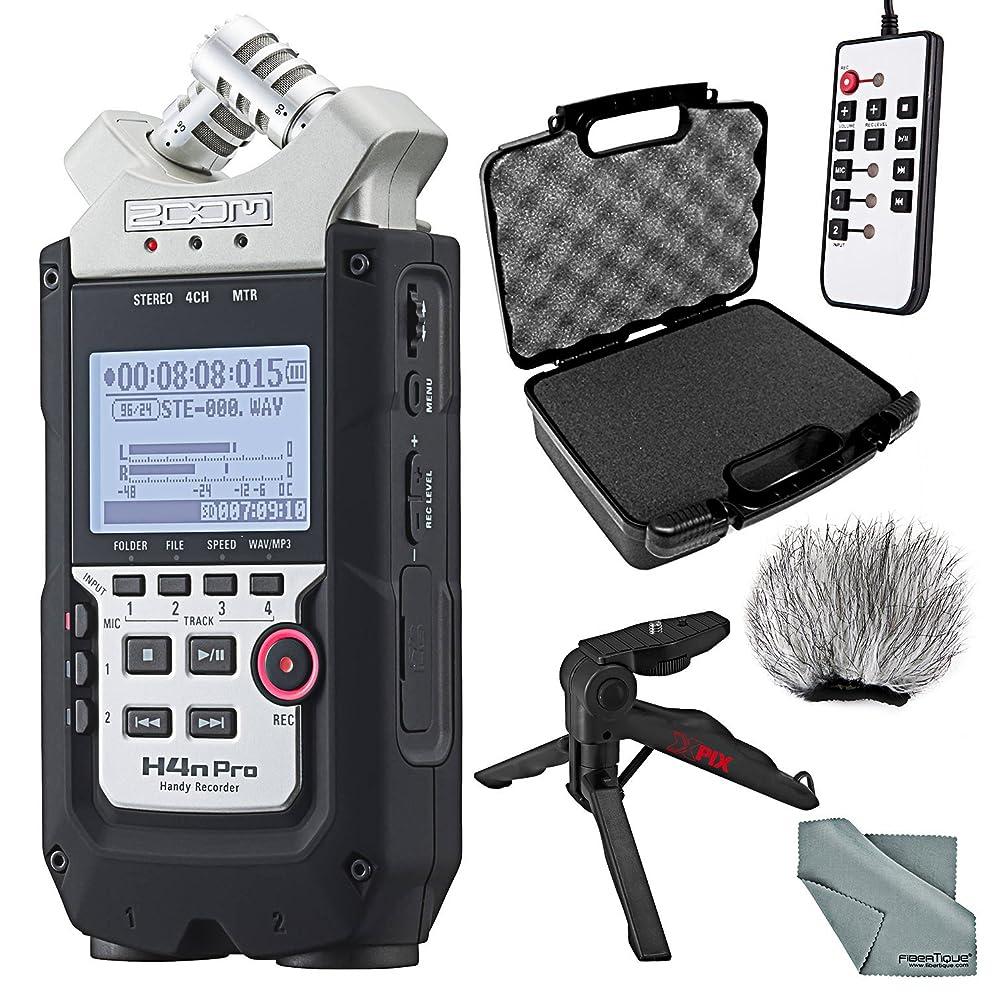 Zoom H4n Pro Handy 4-Channel Recorder Bundle with Case + Remote + Windscreen + XPIX Tabletop/Handgrip Tripod + FiberTique Cleaning Cloth