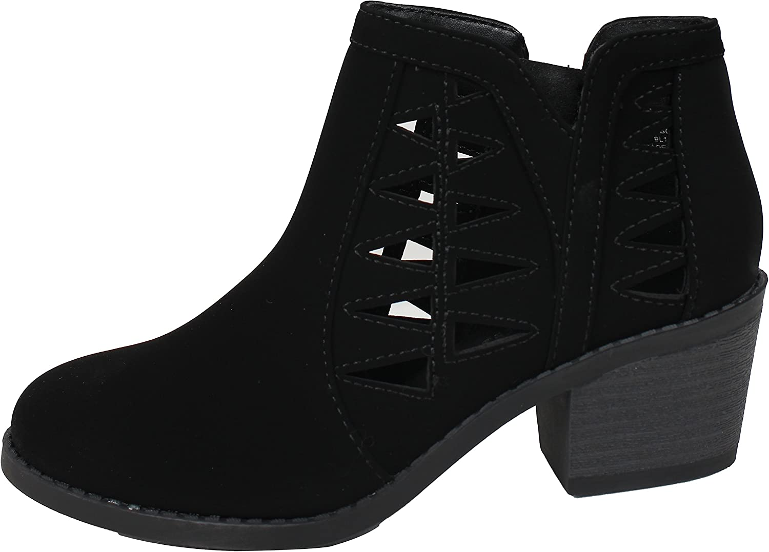 Soda Girl's Triangle Cutout Side Chunky Stacked Heel Ankle Boot