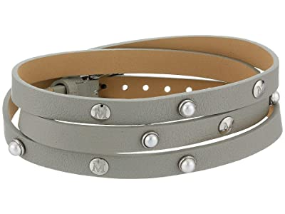 Majorica Isla Leather Wrap Bracelet (Grey Leather) Bracelet