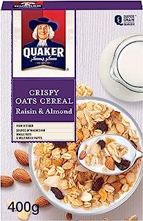 Quaker Crispy Oats Cereal, Raisin Almond, 400g