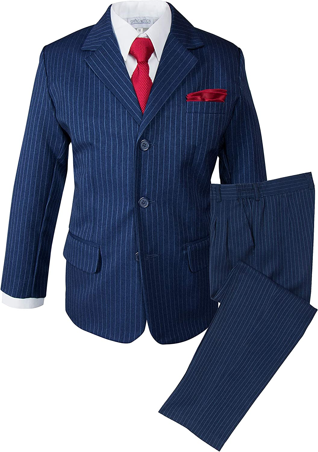 Spring Notion Boys' Pinstripe Blue Suit with Knit Tie and Satin Handkerchief