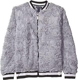 Girls' Embossed Faux Fur Bomber Jacket