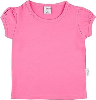 Girls' Basic Short Puff Sleeve Round Neck T-Shirt