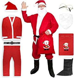 Moshify Santa Suit for Men Complete 8 Piece Set - Christmas Santa Claus Costume for Adults - Be The Star This Holiday Season Red