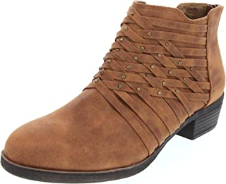 Rampage Women's Tami Woven Strappy Ankle Bootie Boot,