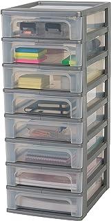 Amazon Basics 135668 Tour de rangement 8 tiroirs Organizer Chest, Plastique, Gris, 8 x 4 L