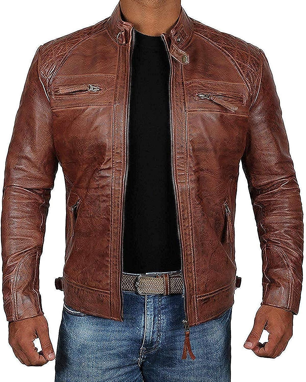 Men's Cafe Racer Vintage Motorcycle Brown Biker Real Leather Jacket -Men's Real Leather Biker Jacket